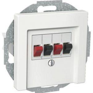 Kaiutinpistorasia 2-osainen stereo valkoinen Exxact