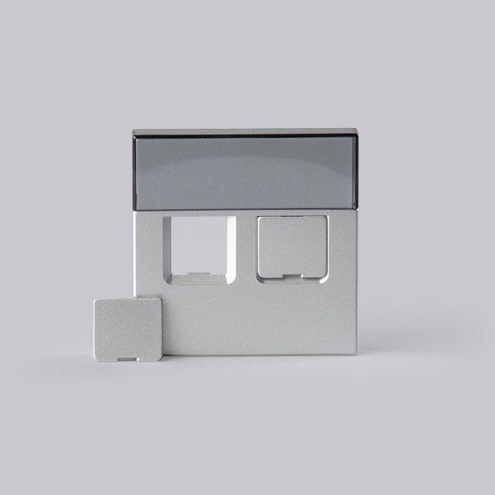 Keskiölevy Impressivo alumiini 2xRJ45