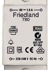 Ovikellomuuntaja DIN-kiskoon D780 220-240/8V 1.0A