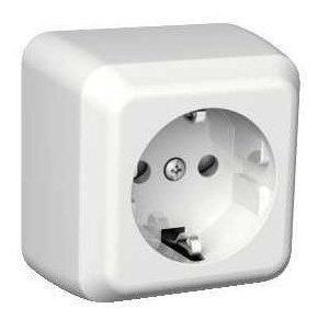 Pistorasia 1S/16A/250V/IP21 PPR valkoinen Exxact