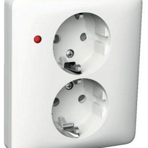 Pistorasia 2-osainen UPJ 2X LED valkoinen Exxact