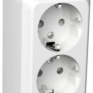 Pistorasia 2-osainen pinta-asennettava PJ IP21 valkoinen Exxact