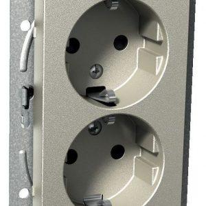 Pistorasia 2-vaiheinen matala 2-osainen 2X UKJ metalli Exxact