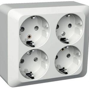 Pistorasia 4-osainen pinta-asennettava PJ 2X valkoinen Exxact