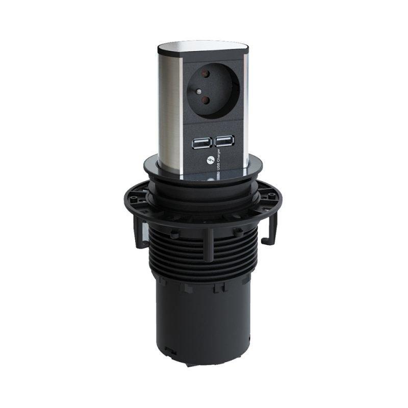 Tornipistorasia Elevator 230V Ø 86x132 mm 1 pistorasia + 2 USB rst-look