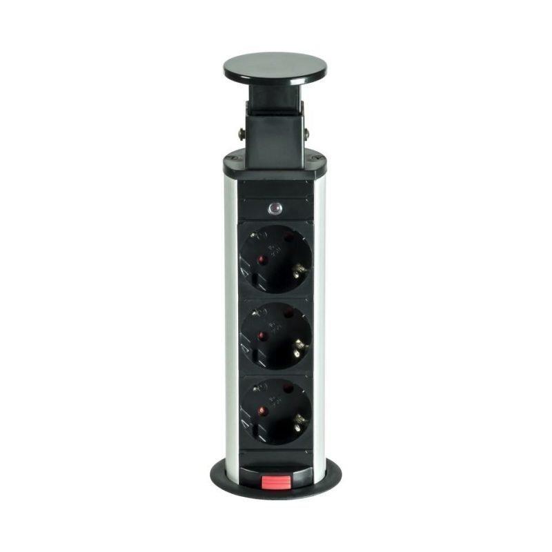 Tornipistorasia Pop-Up Power 230V Ø 60x225 mm 3-osainen musta